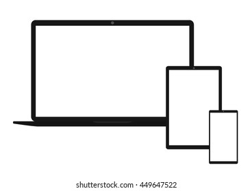 Selection of electronics and white screen. eps10 vector illustration