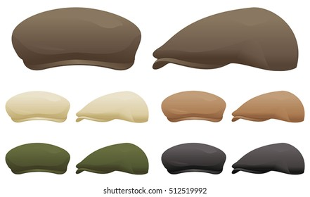 620f0a85292 A selection of flat caps in various colors.