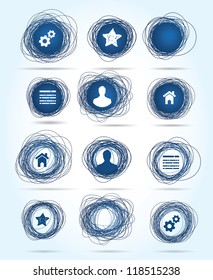Selection of free-drawn circular business icons in blue, both internet related themes and blank buttons for insertion of your own text