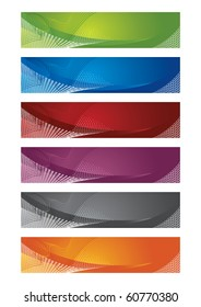 Selection of halftone digital banners. This image is a vector illustration.