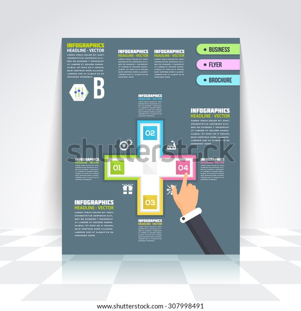 Selection Infographics Design Brochure, Cover, Flyer. Flat Style Numbered Banner and Background