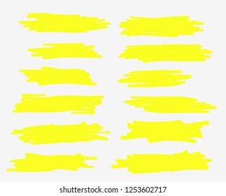 A selection of the line of stroke markers. Vector highlight brush lines. Hand drawing sketch underlined, stripes. Illustration on isolated white background.