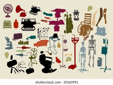 """a selection of objects with the theme, """"mad scientist""""  :HIGH QUALITY vector paths. For more silhouettes, see my files #26799640, #13963618, #13360948, #13360951, #14051254, #19737103 & NEW #29956426"""