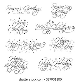 A selection of script holiday type with merry christmas, happy holidays, seasons greetings and happy new year