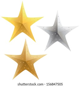 A selection of sparkling gold, silver and bronze stars.