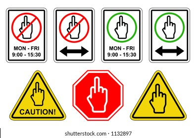 Selection of traffic signs featuring a symbol representing a hand with the middle finger raised.