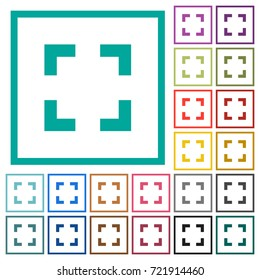 Selector tool flat color icons with quadrant frames on white background