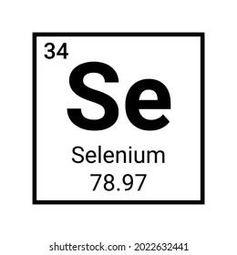 Selenium periodic element molecule icon. Radioactive selenium symbol chemistry icon