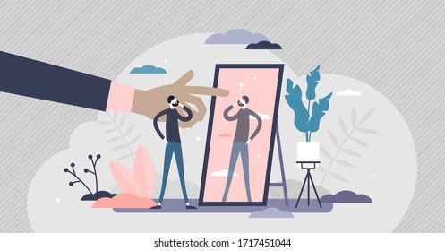 Self absorption concept, flat tiny person vector illustration. Relationships with self image and personal analysis. Reflection thoughts on life attitude and personality traits. Inner awareness process