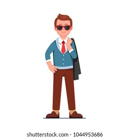 Self assured smiling man wearing sun shades standing with jacket over his shoulder. Cool hipster guy character in trendy clothes & necktie. Flat style isolated vector character illustration