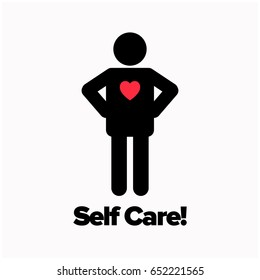 Self Care Motivational Feel Good Poster With Heart In Man Icon
