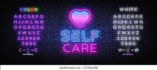 Self Care neon sign vector. Neon Design template, light banner, night signboard, nightly bright advertising, light inscription. Vector illustration. Editing text neon sign.