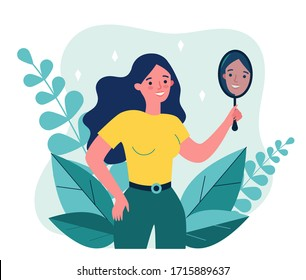 Self centered woman suffering from narcissism. Smiling girl looking at herself in mirror. Vector illustration for ego, psychology, reflection concept