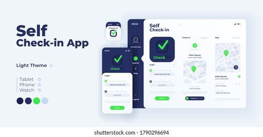 Self check in app screen vector adaptive design template. Social navigation and places sharing application light mode interface with flat illustrations. Smartphone, tablet, smart watch cartoon UI