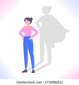 Self confidence concept. Young woman standing and superhero shadow behind her. Leadership, ambition, success, motivation and encouragement metaphor, vector illustration