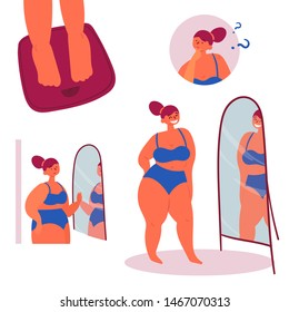Self confidence. Fashion plus size body positive woman on scales in front of the mirror. People beauty, fat and weight acceptance. Vector flat illustration