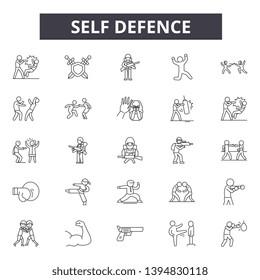 Self defence line icon signs.  Linear vector outline illustration set concept.