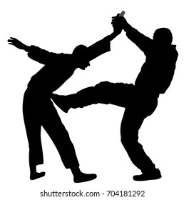 Self defense battle vector silhouette. Man fighting against aggressor with gun pistol. Krav maga demonstration in real situation. Combat for life against terrorist. Army skill action. policeman arrest