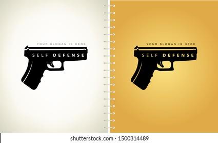 Self defense logo vector. Gun silhouette.