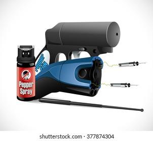 Self defense weapons - taser, pepper spray and pepper pistol