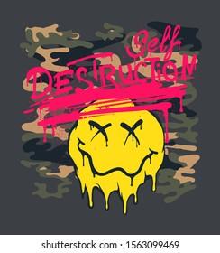 self destruction ink dripping camouflage illustration with melting emoji