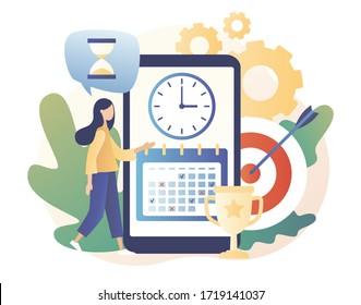 Self Discipline app and Motivation concept. Time management, self management, self control, target, productivity metaphors. Modern flat cartoon style. Vector illustration on white background