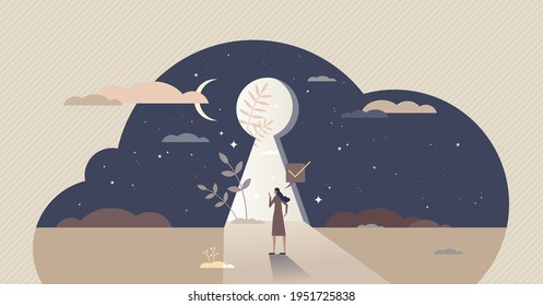 Self discovery and identity finding with cognitive search tiny person concept. Personality development with inside freedom feeling and belief in yourself future vector illustration. Keyhole sneak peek