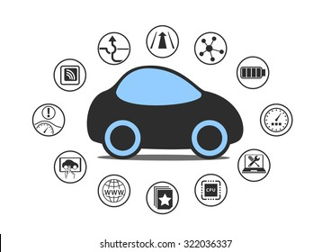 Self driving car and autonomous vehicle concept. Icon of driverless car with sensors like lane assistance, head up display, wireless connectivity.