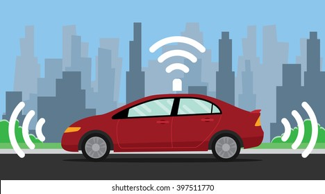 self driving car illustration with red color on the road