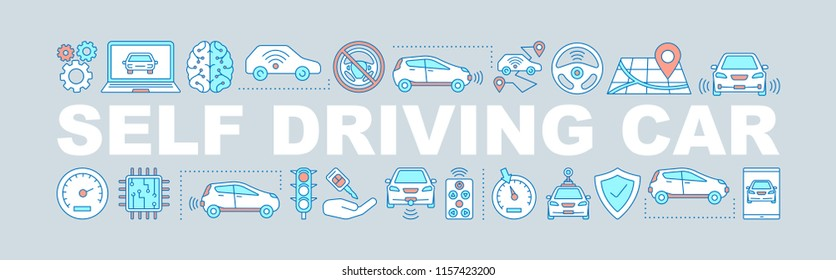 Self driving car word concepts banner. Driverless auto. Isolated lettering typography idea with linear icons. Autonomous automobile. Vector outline illustration