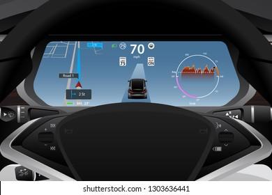 Self driving electric car dashboard display closeup. Speedometer, navigation, battery level and efficiency indicator, autopilot symbol. Vector illustration.