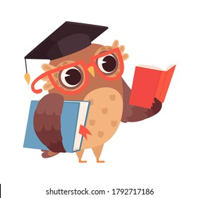 Self education. Owl reading books, isolated smart character. Cartoon bird with glasses studying vector illustration