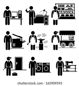 Self Employed Small Business Jobs Occupations Careers - Grocer, Freelancer, Copywriter, Printing Shop, Blacksmith, Hawker, Locksmith, Laundry, Tailor - Stick Figure Pictogram