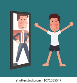 Self Esteem Concept - man looking him body shape in a mirror