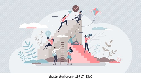Self growth and personal development progress stages tiny person concept. Reaching for career goals and success vector illustration. Ambition ladders and potential accomplishment vision for future.