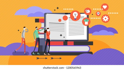 Self help book concept, flat vector illustration with open book and persons going after knowledge to improve and rediscover mind without borders. Personal growth and life mastery. Revealing new ideas
