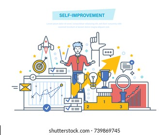 Self improvement. Self development, personal qualities growth, emotional intelligence. Leadership skills, successful person. Achievement of high goals. Illustration thin line design of vector doodles.