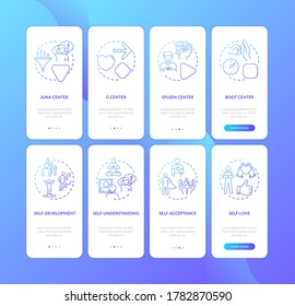 Self improvement onboarding mobile app page screen with concepts. Understanding yourself. Psychology walkthrough 4 steps graphic instructions. UI vector template with RGB color illustrations