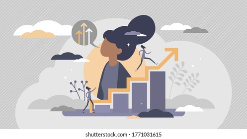 Self improvement with personal development and growth flat tiny persons concept. Educational and professional progress vector illustration. Career progress and skill training performance challenge. - Shutterstock ID 1771031615
