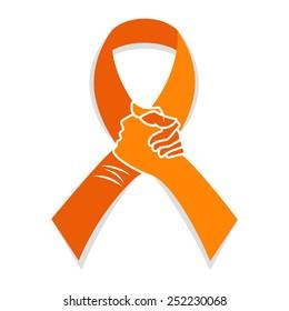 Self injury orange awareness ribbon, hands concept, people solidarity, vector illustration