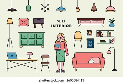 Self interior furniture icons. Solution Manager for Interior Design. flat design style minimal vector illustration.