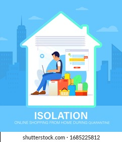 Self isolation concept. Young man doing online shopping from home during Covid-19. All stay at home. Self-isolate from a pandemic. Online purchases from home during Quarantine. Vector illustration