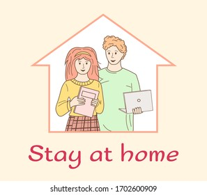 Self isolation doing household chores, reading a book, quarantine due to epidemic. Couple staying at home in self quarantine. Stay safe. Global viral epidemic. Vector illustration