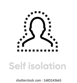 Self Isolation Epidemic icon. Editable line vector. The bust element of a person is bounded inside a dotted curve outline. Single pictogram.