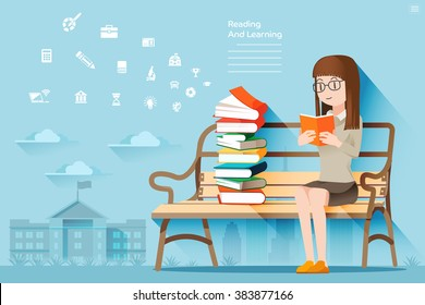 The self learning. Review of Books. Reading In Public Areas. Woman sitting on a bench in the park. Lifestyle urban.