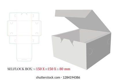 Self Lock Box Template, Vector with die cut, laser cut layers. Cut and Fold Cake Box, Donuts Cake Illustration. White, clear, blank, isolated Self Lock Box mockup on white background. Packaging Design