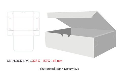 Self Lock Box Template, Vector with die cut, laser cut layers. Cake Box, Donuts Box. Cut and Fold. White, clear, blank, isolated Self Lock Box mock up on white background. Packaging Design, 3D