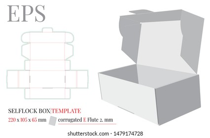 Self Lock Box Template, Vector with die cut / laser cut layers. White, clear, blank, isolated Self Lock Box mock up on white background. Packaging Design, Cake Box, Donuts Box. Cut and Fold