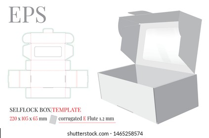 Self Lock Box with Window Template, Vector with die cut / laser cut layers. White, clear, blank, isolated open Box mock up on white background. Packaging Design, Cake Box, Donuts Box. Cut and Fold