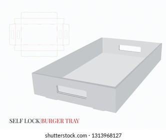 Self Lock Tray With Handles Template. Vector with die cut / laser cut layers.  White, empty, blank, isolated Corrugated Burger Tray on white background with perspective view. Packaging Design, 3D